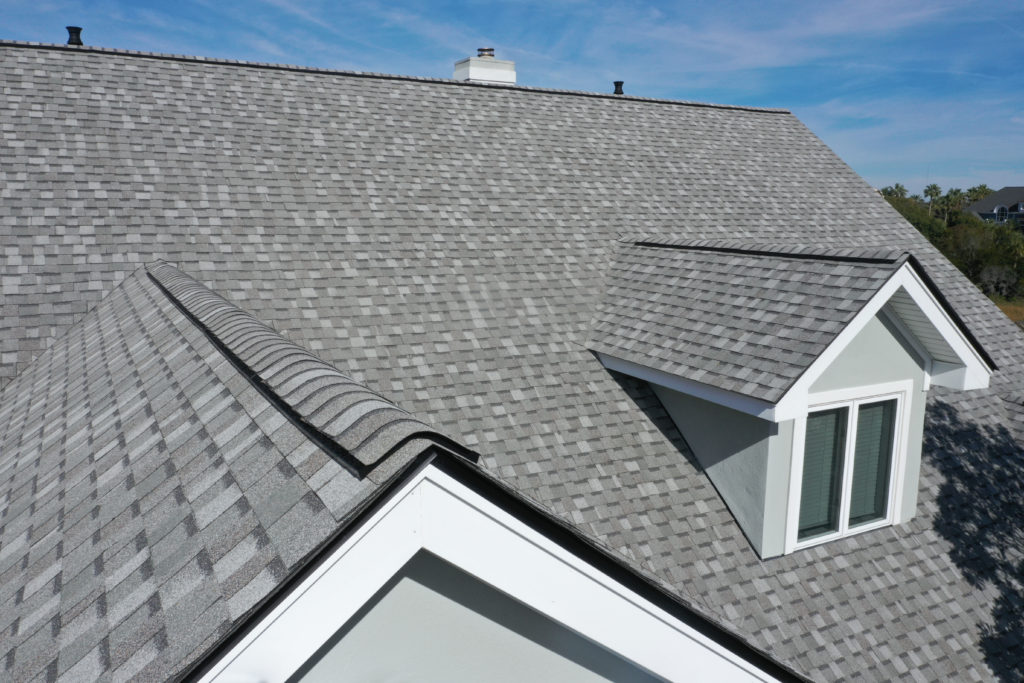 Roof tiles covering up exterior of a house